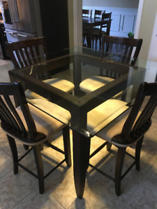 Glass Kitchen Table - Pub Height