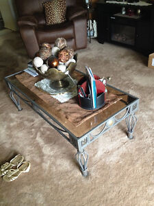 Glass Coffee Table & Two End Tables With Wrought Iron Base
