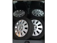 15inch alloys with tyres, 4x100 stud holes - fits most 4 stud cars. ( IN BELFAST) Vauxhall/Corsa
