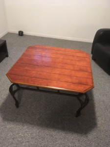 Large wood/wrought iron coffee table and end table
