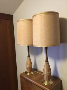 Pair of Mid-Century Teak Lamps