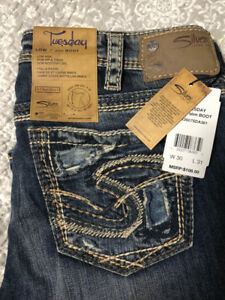 Silver Distressed Ladies Jeans-NEW With Tags