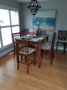 Extendable Pub style Dining table and 8 chairs