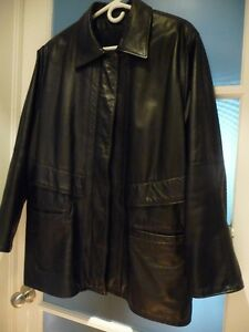 Manteau/coat Cuir Leather Noir/Black