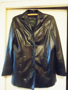 Danier Women's Black Leather 3/4 Length Winter Lined Coat