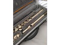 Silver coloured flute.