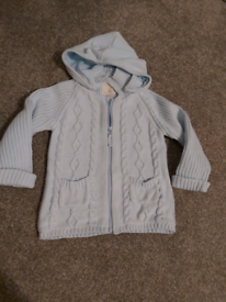 Baby blue boutique zipped hooded top, 12-18m