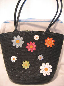 NEW BLACK STRAW DECORATED SMALL PURSE