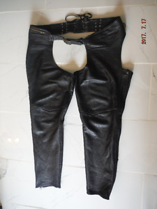 "Woman's black soft leather chaps made by ""On the Fringe"""