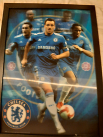 3D Chelsea Football picture in black frame