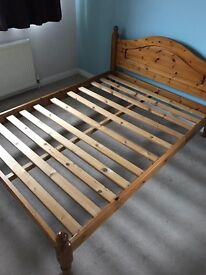 Double wooden bed frame + Double Mattrass