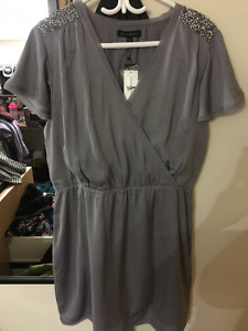 Banana Republic - Rhinestone Shoulder Grey Dress