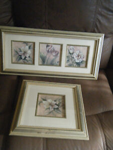 FRAMES PICTURES IN PINKS AND MAUVES ..FLOWERS. TWO MATCHING