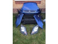 FORD FIESTA COMPLETE FRONT ENDS, ONE SILVER AND ONE BLUE