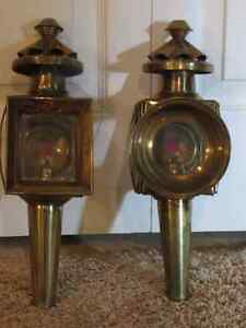 2 brass antique coach lamps with oil holders still inside