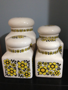 Vintage 4 Cannister Yellow Flower Set