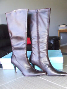 New Tall Dark Brown Leather Boots