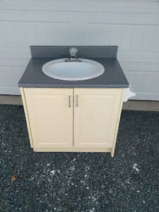 Powder / Laundry Room Cabinet with Sink, Faucet & Flex Lines