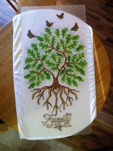 Stained Glass effect Painting Gift Decor Oak Tree Family