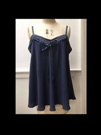 Stella McCartney for H&M Top Slate Blue Crystal Embellished Silk Camisole Top Size 34