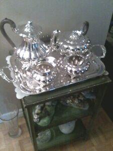 """5 piece """"ROGERS"""" Silver Tea Service"""