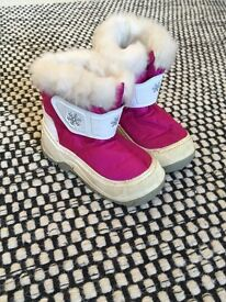 Pink fluffy snow boots