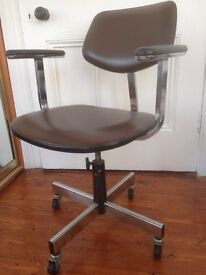 Swivel Desk Chair Brown Leather
