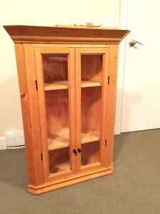 Hand-made floating pine display cabinet