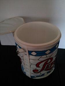 Vintage Pepsi-cola round vinyl large cooler $20