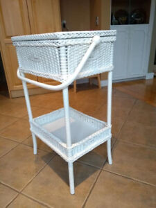 Vintage white sewing basket on legs with top compartment and bot