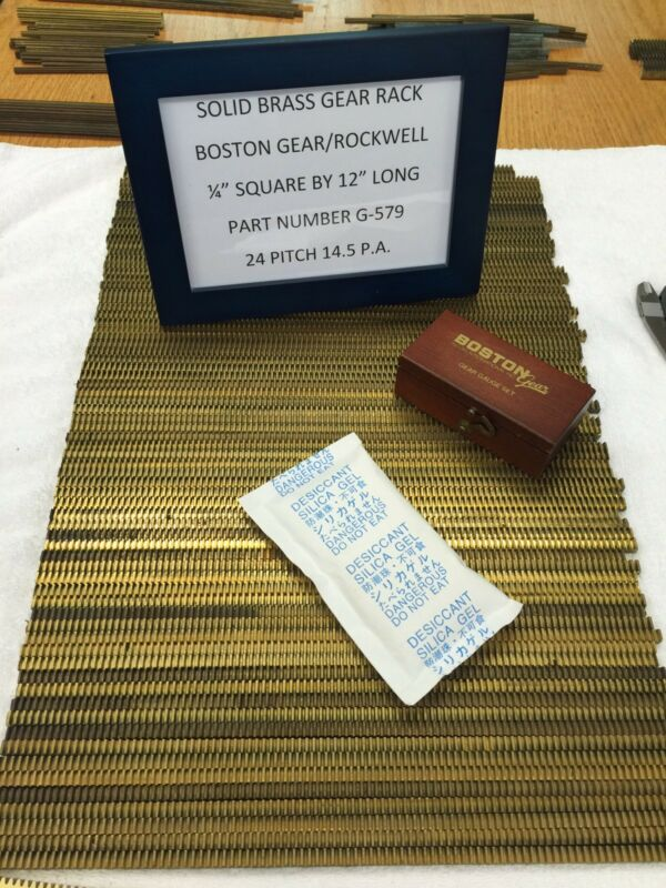 "BOSTON GEAR G-579 GEAR RACK FOR CLOCKS ETC. CNC LINEAR MOTION 12"" LONG BRASS NOS"