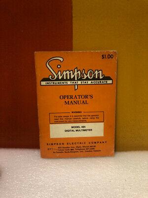 Simpson Model 464 Digital Multimeter Operators Manual