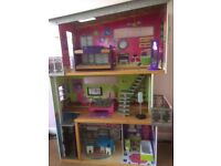 Large Barbie style house and furniture