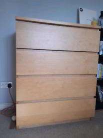 Ikea MALM Oak Chest of 4 Drawers