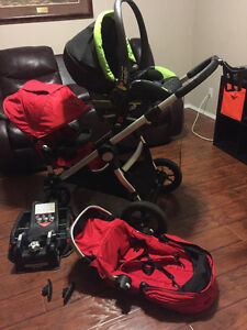 city select double stroller with 2 seats, car seat  & adapter