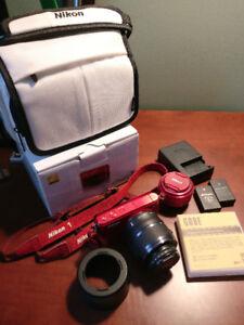 HOT!! RED NIKON 1 S1 10.1 MP Digital Camera BUNDLE