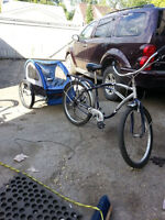 Blue Shwin Bike and Child Buggy for two