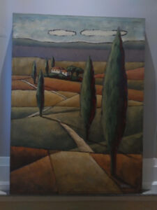 Landscape in Green Hand-Painted by Guild of America Artist