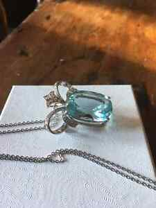 One of a kind CUSTOM Diamond and Aquamarine necklace London Ontario image 5