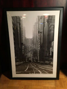 San Francisco Street B&W Photo Framed Poster