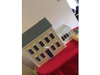 dolls house emporium amber house, three story, fully furnished with garden, conservatory and decking