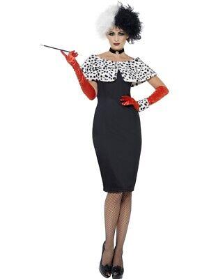 Cruella Evil Madame Böse Lady Kostüm Damen Dalmatiner - Böse Madame Kostüm