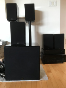 Yamaha Receiver and 5 NHT Bookshelf Speakers and Subwoofer