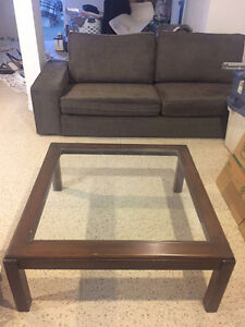 Large solid wood and glass coffee table - MOVING SALE