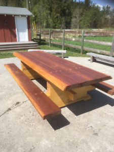Yellow and Red Cedar Picnic table