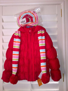 NEW Gymbo Red Winter Puffer Coat with Hat & Scarf Never Worn!