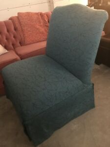 Custom made teal slipper chair