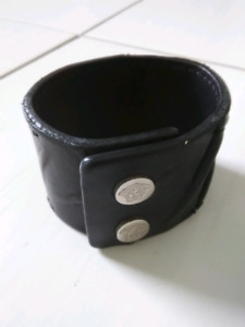 Versace Bracelet Black Leather Made In Italy