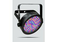 Chauvet Slim Par 56 LED wash light in a sleek black housing.Powered by 108 red, green and blue LEDs