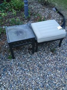 Outdoor Stool and Glass Side Table